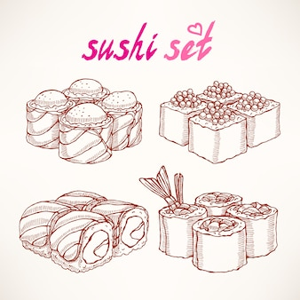 Set of four different kinds of delicious sketch hand-drawn rolls