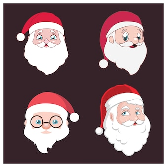 Set of four different santa portrait styles
