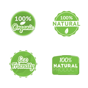 Set of four eco labels: