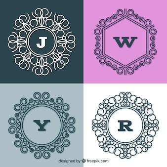 Set di quattro monogrammi eleganti