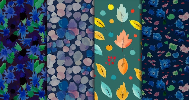 Set of four floral and leaves watercolor patterns