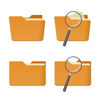 Set of four folder icon for search. yellow folder with magnifying glass