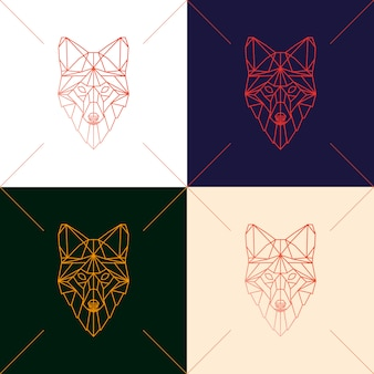 Set of four fox head geometric silhouette.
