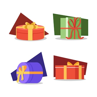 Set of four gift box compositions, christmas gif boxes on color background