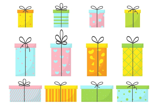 A set of four gifts with ribbons and bows a set of boxes for gifts a set of gifts for the holiday