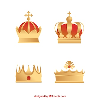 Set of four gold crowns in flat design