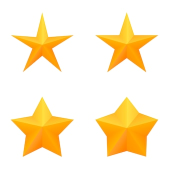 Set of four golden five point stars.