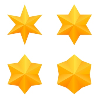 Set of four golden six point stars.