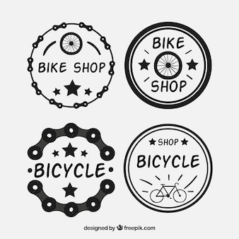 Set of four hand drawn bicycle stickers
