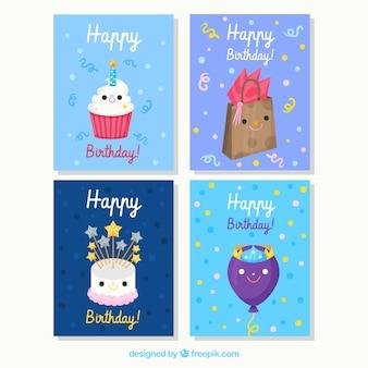 Set of four hand drawn birthday cards