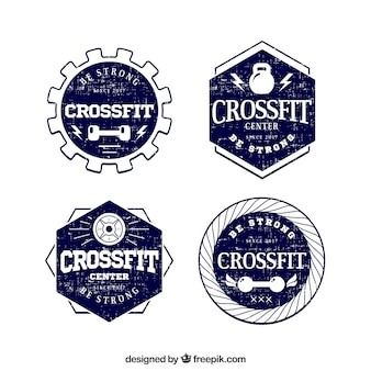 Set of four hand-drawn crossfit stickers