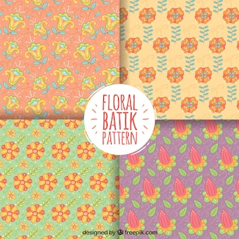 Set of four hand drawn floral patterns