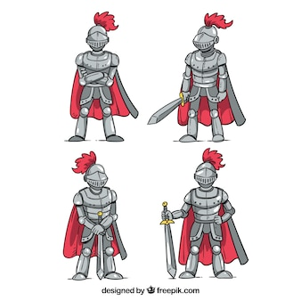 Set of four hand drawn knight armor with cape