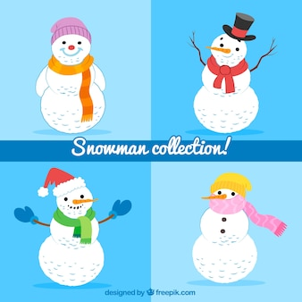 Set of four hand drawn snowmen