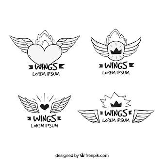 Set of four hand-drawn wing logos