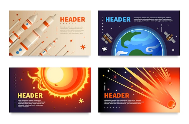 Set of four horizontal space banners