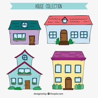 Set di quattro facciate delle case