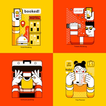 Set of four  illustration. hotel booking.