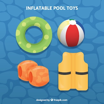 Set of four inflatable pool toys