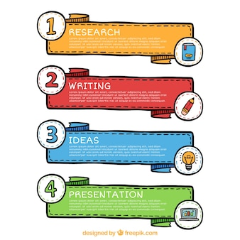 Set of four infographic banners with different colors