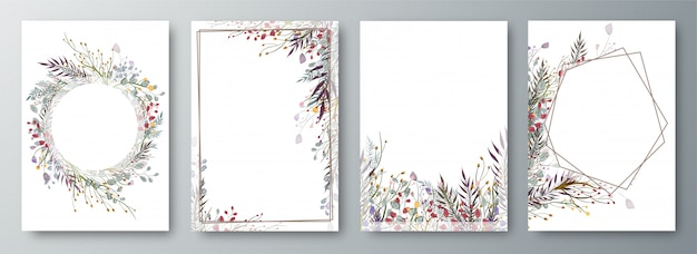Set of four invitation or greeting card design decorated