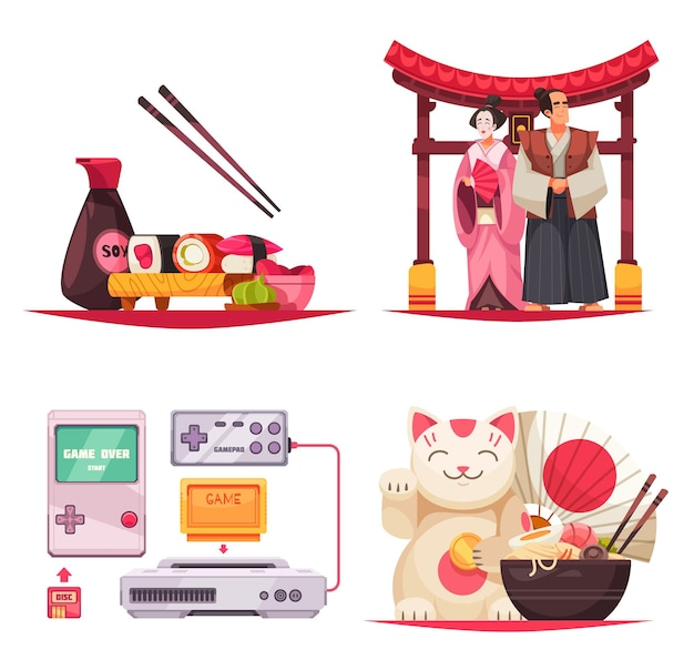 Set of four isolated compositions with stereotypes about japan, sushi noodles, traditional costumes and gaming consoles