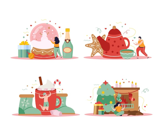 Set di quattro composizioni di inverno felice isolate con doni e champagne con le persone