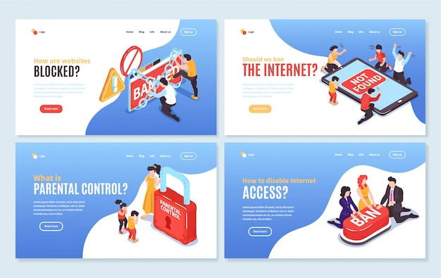 Set of four isolated isometric banned website horizontal banners with editable text clickable links and images vector illustration