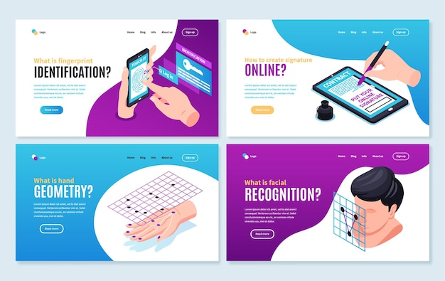Set of four isolated isometric biometric identification horizontal web site pages with editable text links landing pages