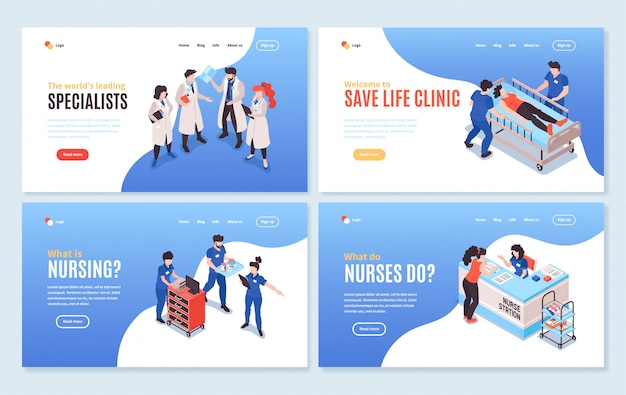 Set of four isolated isometric hospital horizontal landings pages