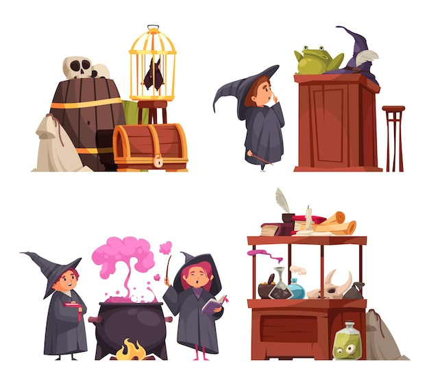 Set of four isolated magic school compositions with doodle characters of students in hats and goods vector illustration
