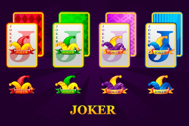 Set of four jokers playing cards suits for poker and casino. joker poker symbols for casino and gui graphic.