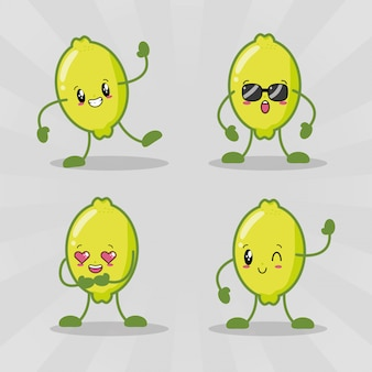 Set of four kawaii lemons with different expressions