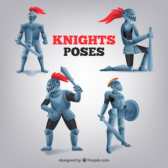 Set of four knight poses