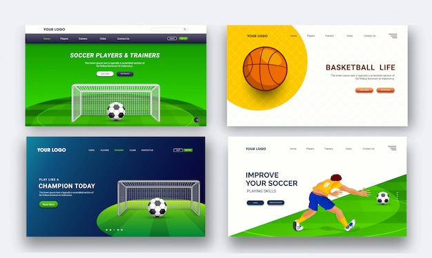 Set of four landing page design for live sports tournament conce