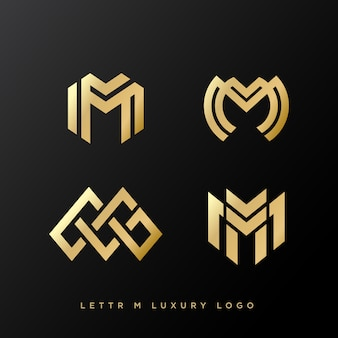 Set of four luxury letter m logo