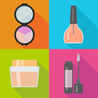 Set of four makeup items in flat style with shadow. vector illustration.