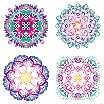 A set of four mandalas with a gradient fill.