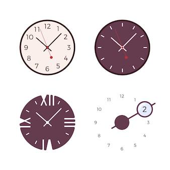 Set of four modern wall clocks