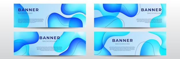 Set of four modern web wave banner background in blue gradient color