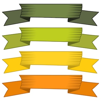 Set of four multicolor ribbons and banners for web design. great design element isolated on white background. vector illustration.