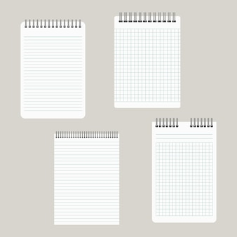 Set of four notepads with a binding from above. vector illustration
