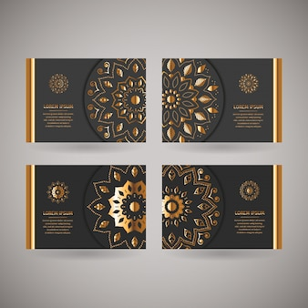 Set of four ornamental gold cards with flower oriental mandala
