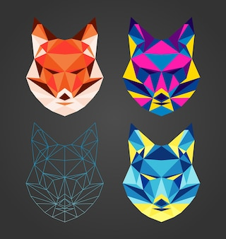 Set of four polygonal geomertric colorful fox head collection animals for design print logo