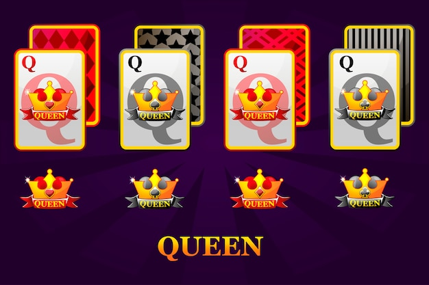 Set of four queens playing cards suits for poker and casino. set of hearts, spades, clubs and diamonds queen.
