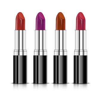 Set of four realistic lipsticks.