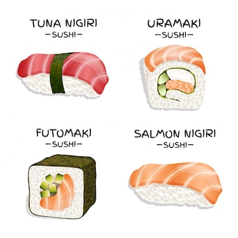 Set of four realistic sushi