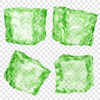 Set of four realistic translucent ice cubes in green color isolated on transparent background. transparency only in vector format