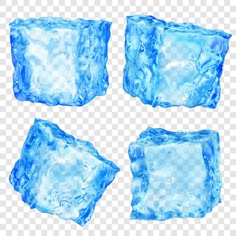 Set of four realistic translucent ice cubes in light blue color on transparent