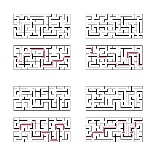 A set of four rectangular labyrinths.
